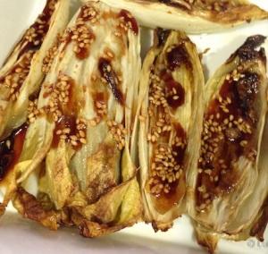 Endivias hechas con salsa de reduccion de soja y miel