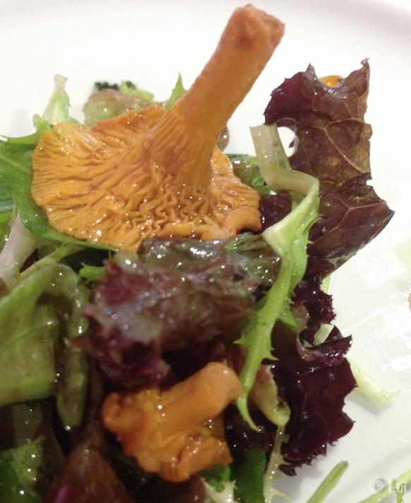 Ensalada de rossinyols confitados al vermut con magrana y rúcula