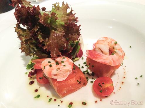 langostinos y tacos de salmon general marinados tunel en Marc Palou