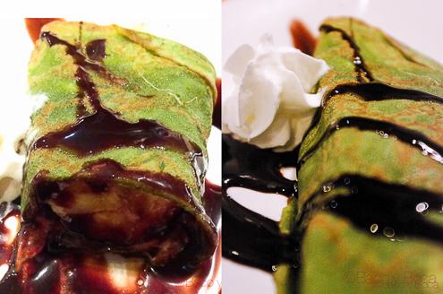 Crep te verde platano y chocolate en Bun Sichi restaurante japones barcelona