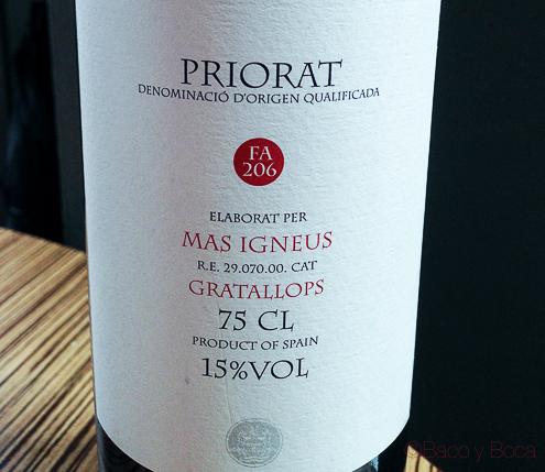 Igneus Priorat Gratallops en centonze restaurante barcelona