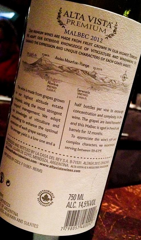 Dorso Argentina Mendoza Altavista Premium Malbec 2012