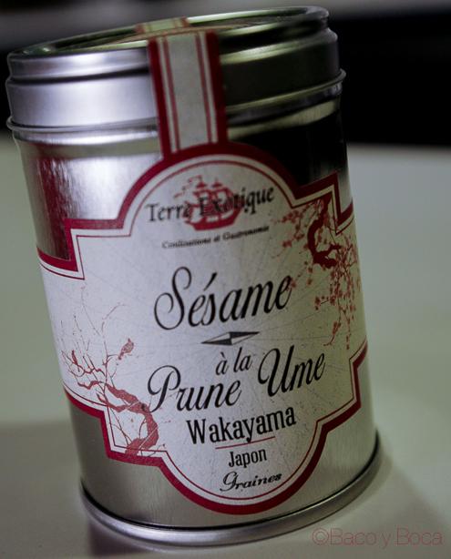 Sesamo con sabor a cereza ume crema de calabacin