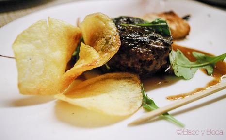 hamburguesa de rabo de toro con salsa de rustido desmontada cena maridaje sucapa