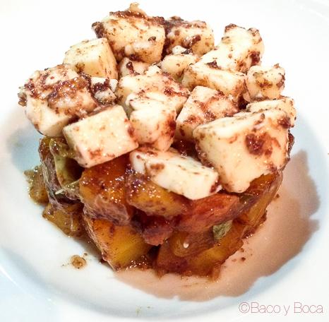 Timbalet de pastanaga amb formatge emporità de Mas Marcè amb tàperes de Ballobar Slow food deu mans
