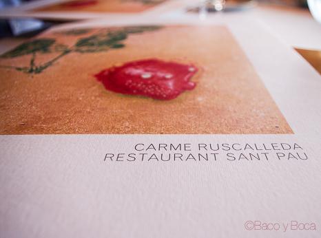 Carta restaurante Sant Pol Carme Ruscalleda