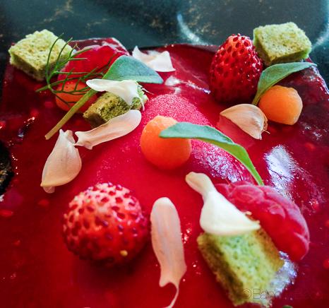 Frutos rojos, albahaca, limon helado de chocolate Opalys Sant Pol Carme Ruscalleda