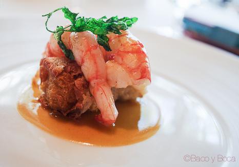 Gambas y tostada de mar sant Pol carme ruscalleda