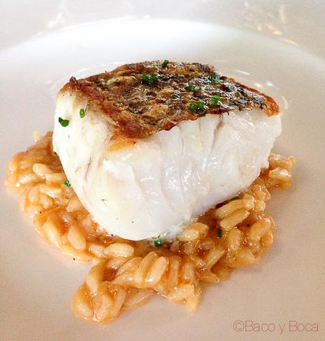 pescado de la lonja de Palamós al horno con fonde de arroz de gambots