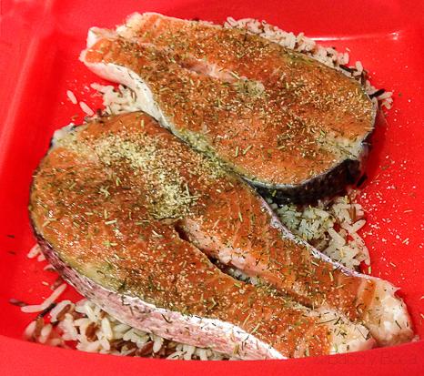Salmón con hierbas en estuche silicona Lekue