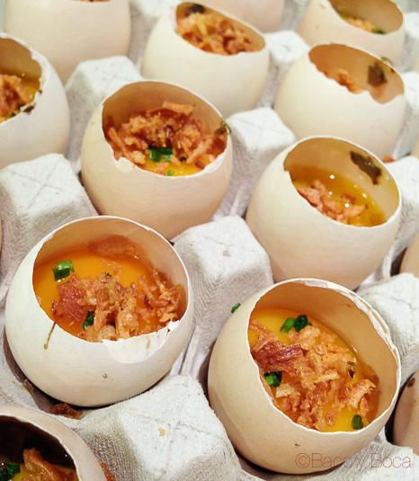 huevos, ceps, berenjena y cebolla