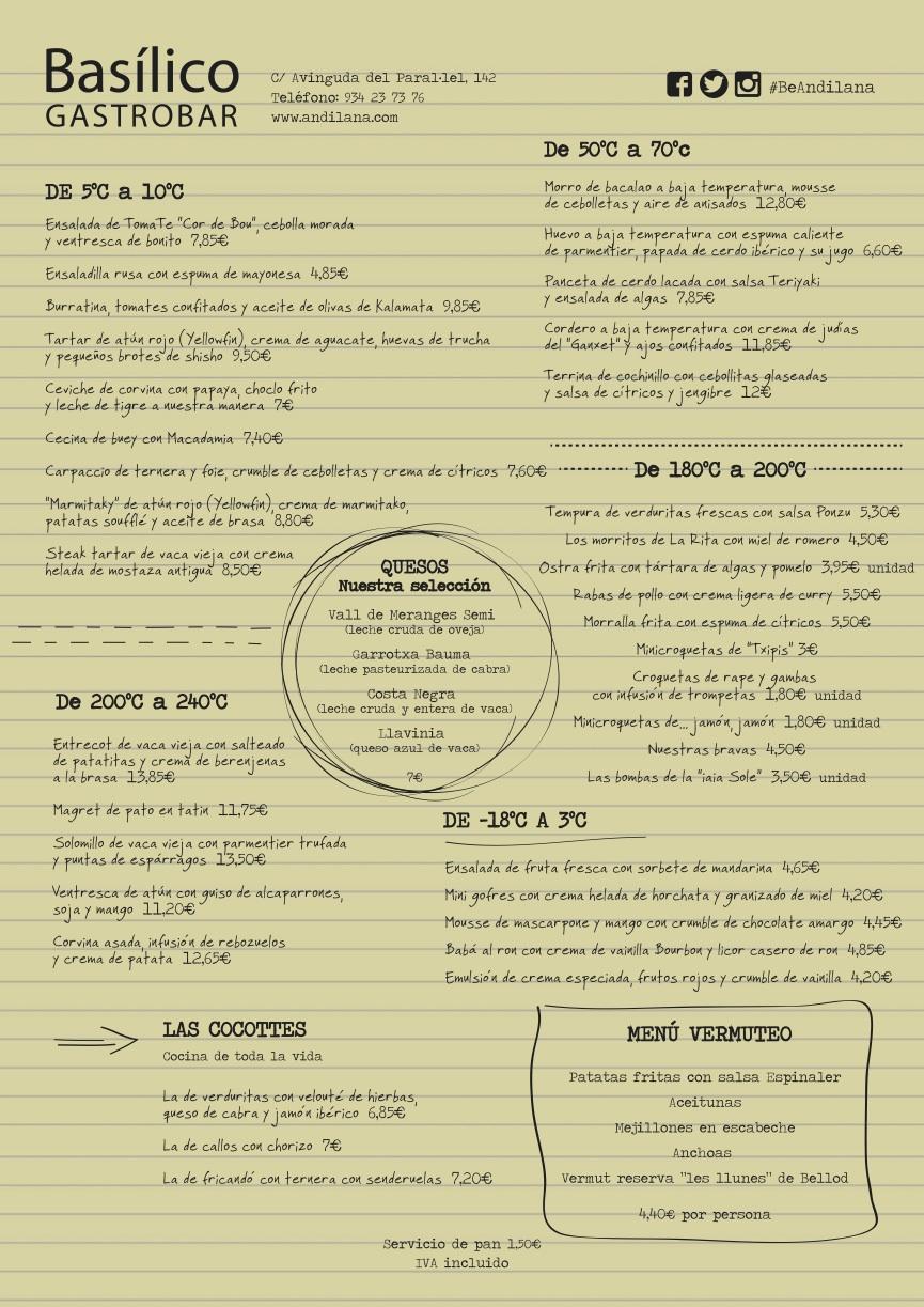 Carta Gastrobar Basílico Castellano