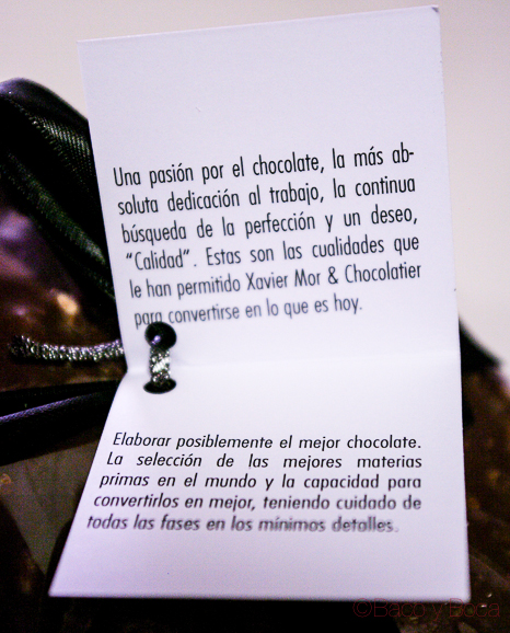 Eriqueta chocolatier Xavier Mor Bacoyboca