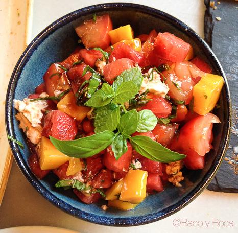 Ensalada sandia y tomate Davita Italian gastro Market baco y boca
