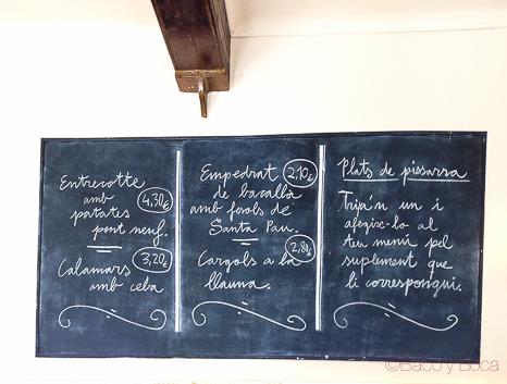 Pizarra menu suplementos El sortidor de la Filomena Pages Baco y Boca