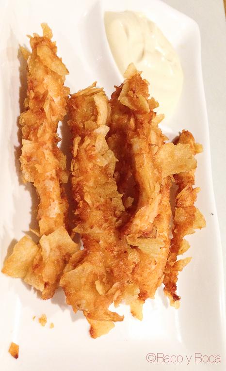 Rabas de pollo y salsa de mostaza Pitapes Granollers baco y boca