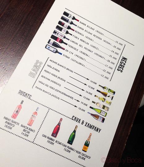 carta vinos Restaurante Malgam Baco y boca