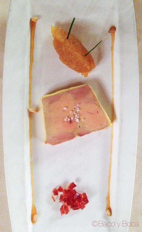 Foie compota Brasserie Flo baco y boca