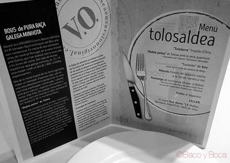 menu tolosaldea jornadas bou Sagardi baco y boca