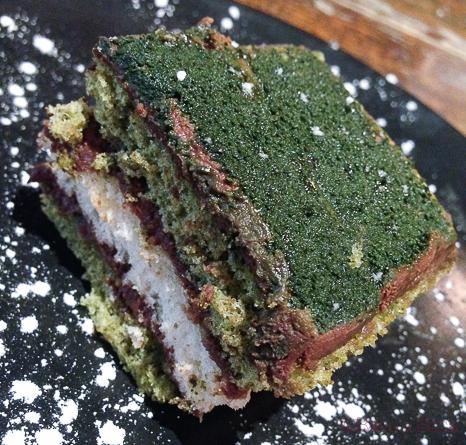 Pastel de te verde Koryo baco y boca