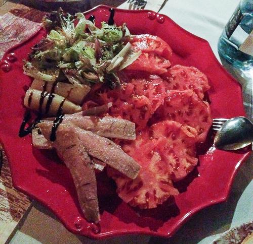 Ensalada de Tomate Rosa Barbastro la Bodega de Vero Catando Somontano Baco y Boca