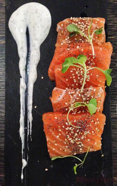 salmon marinado Sasha Bar Barcelona Baco y Boca