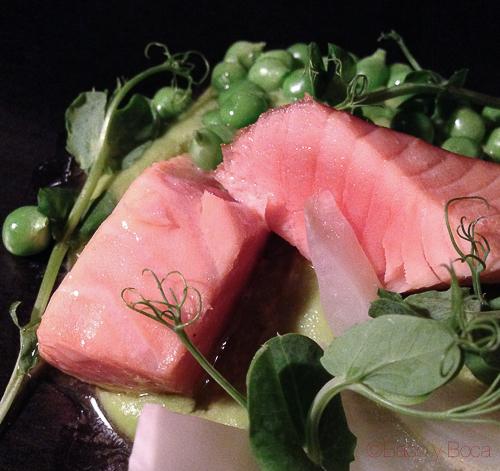 salmon guisantes del maresme hinojo pla bacoyboca