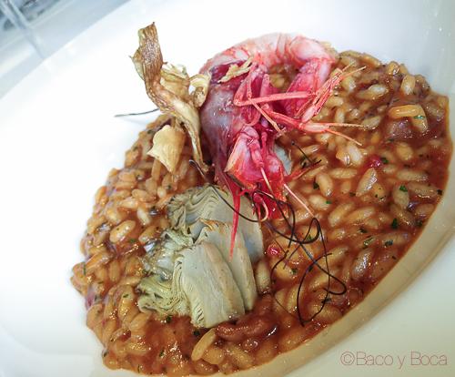 arroz meloso con gamba roja y alcachofa City bar baco y boca