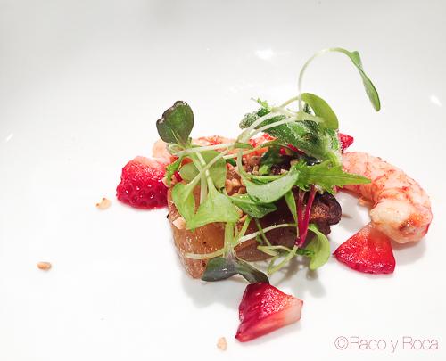 manjar blanco con panceta iberica y fresas del maresme Osmosis Baco y boca