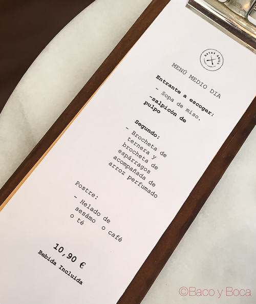 menu Satay Grill Baco y Boca